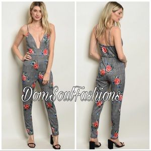 Pants - Plaid Floral Jersey Jumpsuit